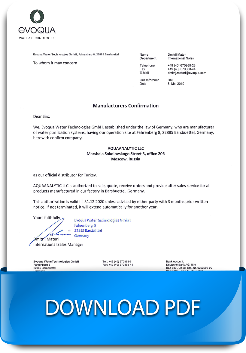 Water purification and ultrafiltration systems - Authorization letter