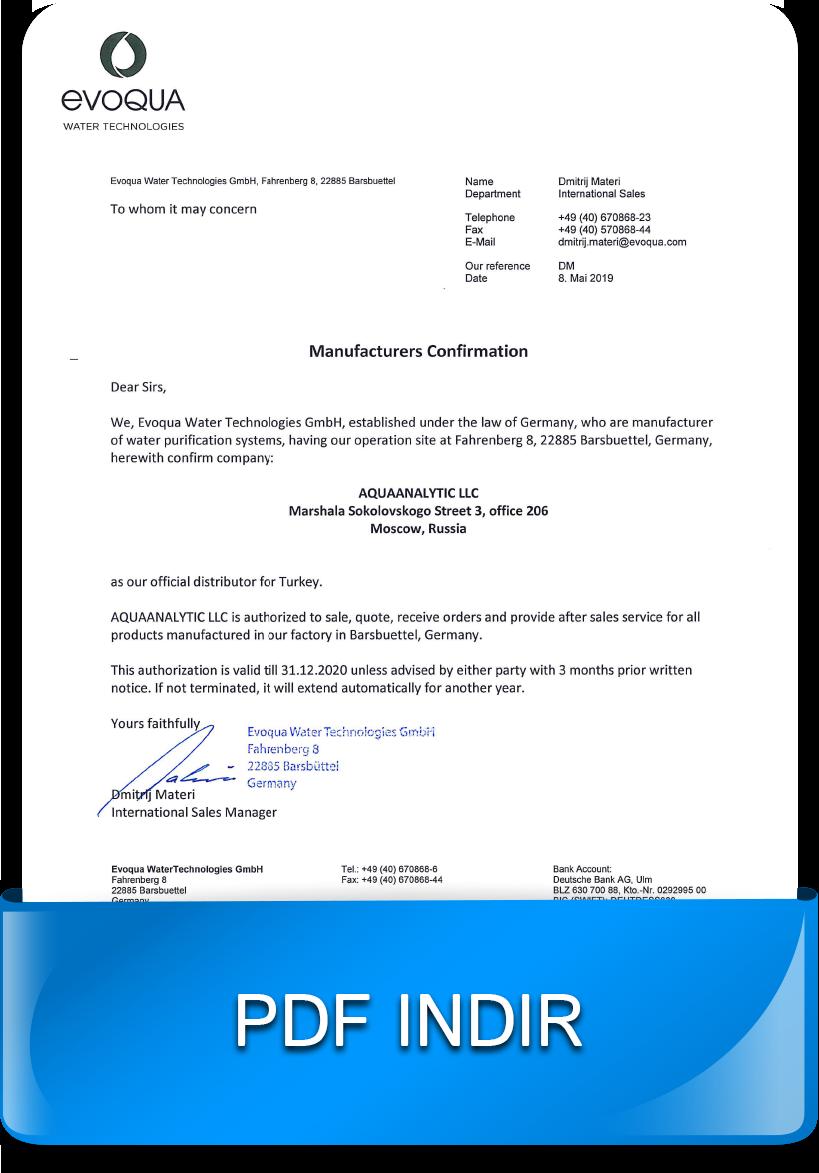 Su arıtma ve ultrafiltrasyon sistemleri-Yetkilendirme mektubu